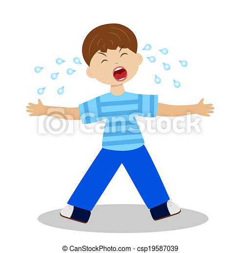 whining boy on a white background - csp19587039