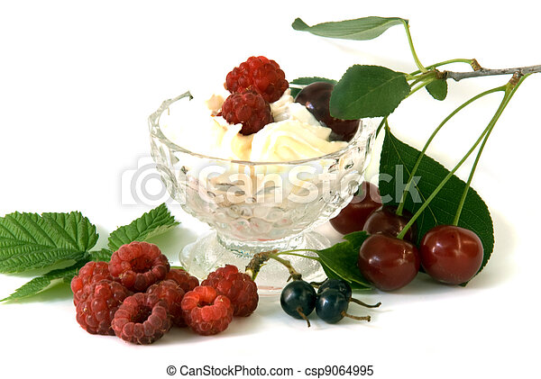 whipped cream with fruits - csp9064995