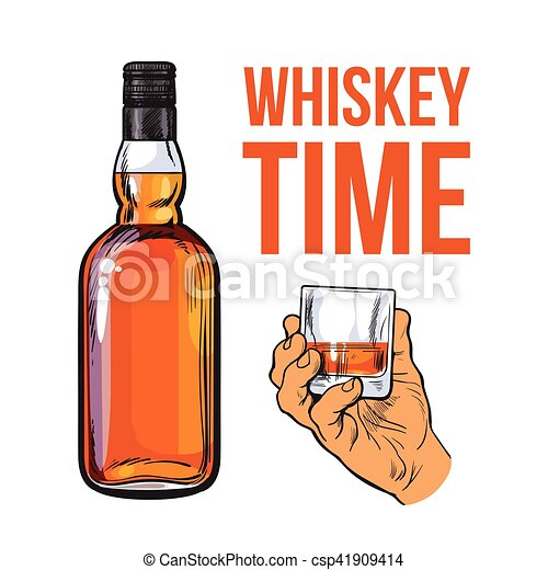 Whiskey Bottle And Hand Holding Full Shot Glass Sketch Style Vector