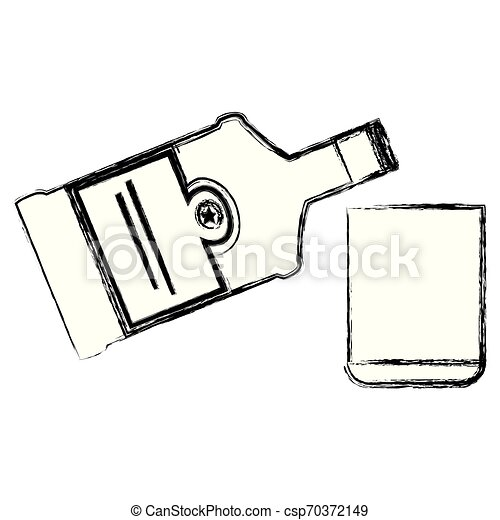 whiskey bottle with glass - csp70372149
