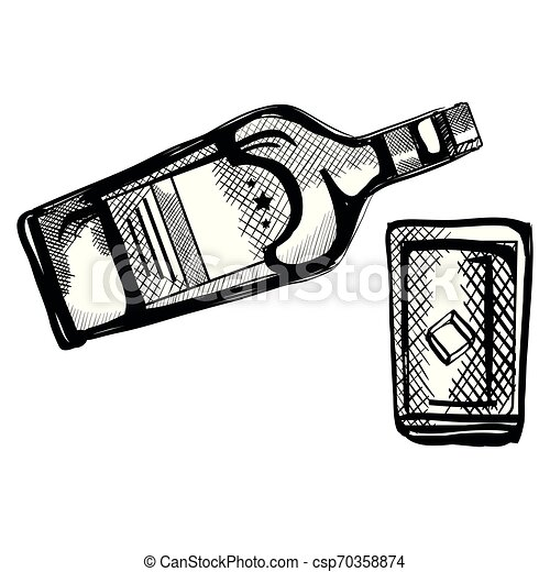 whiskey bottle with glass - csp70358874