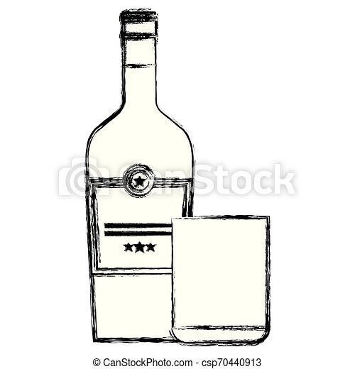 whiskey bottle with glass - csp70440913