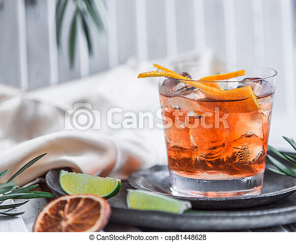 whiskey glass with lime and lemon - csp81448628