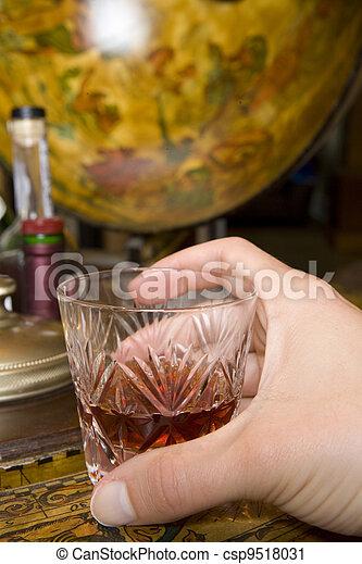 Whiskey on drinks globe - csp9518031
