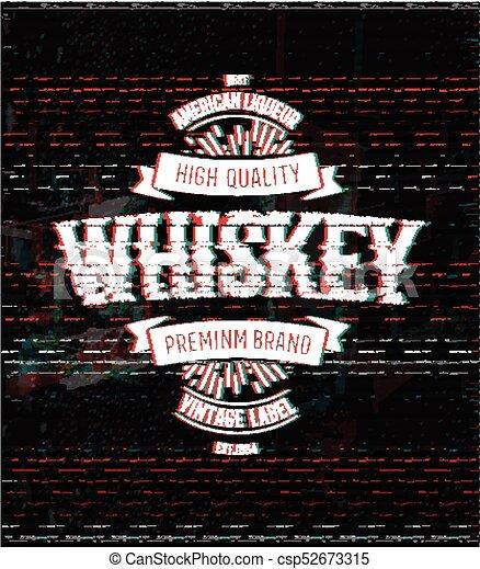 Whiskey Retro Logo Template Vintage Glitch Vector Label