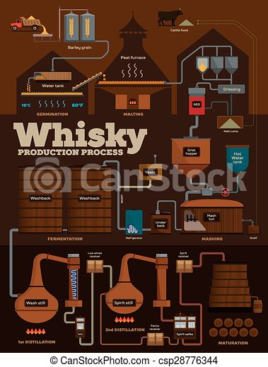 Whisky distillery production process infographics - csp28776344