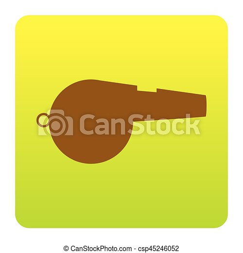 Whistle sign. Vector. Brown icon at green-yellow gradient square with rounded corners on white background. Isolated. - csp45246052