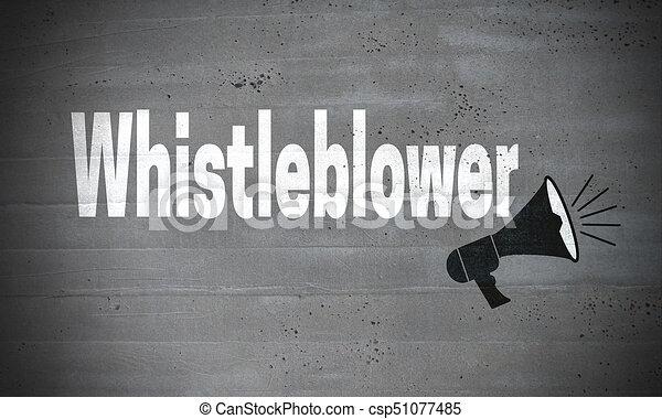 Whistleblower on concrete wall concept background - csp51077485