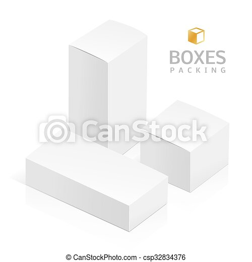 white 3d rectangles realistic white 3d boxes isolated on a white