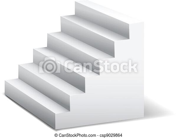 white 3d stairway