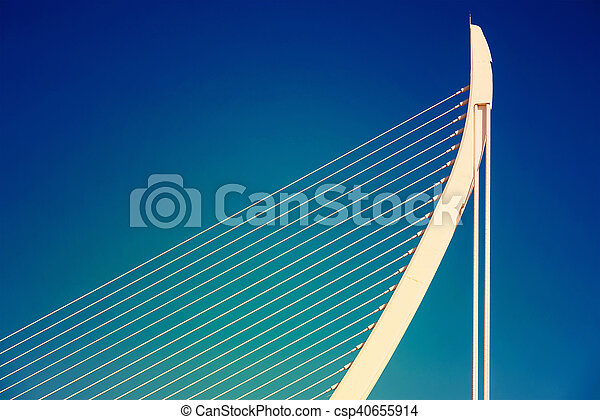 White Abstract Bridge Structure On Sky - csp40655914