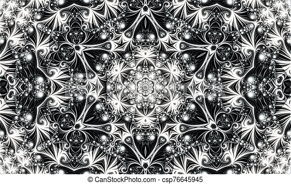 white abstract ornament consisting of fractal spirals and various patterns - csp76645945