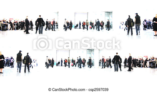 white abstract. people in hall - csp2597039