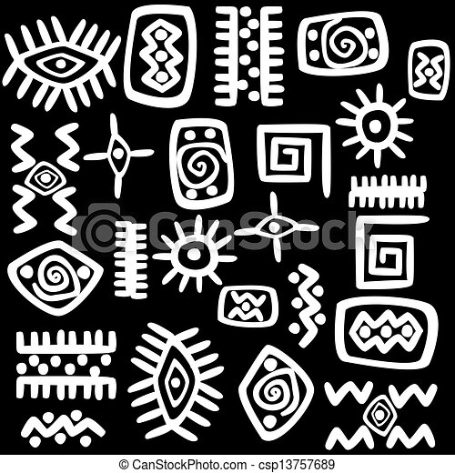 White african motifs set over black background csp13757689