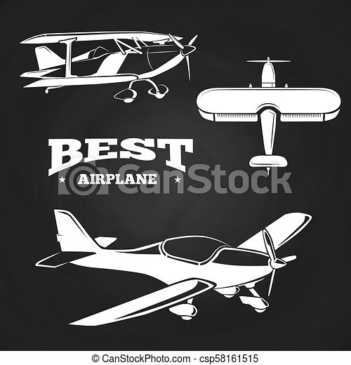 White airplanes collection on chalkboard design - csp58161515