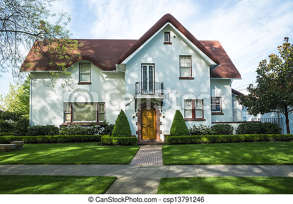 White american craftsman stucco house csp13791246