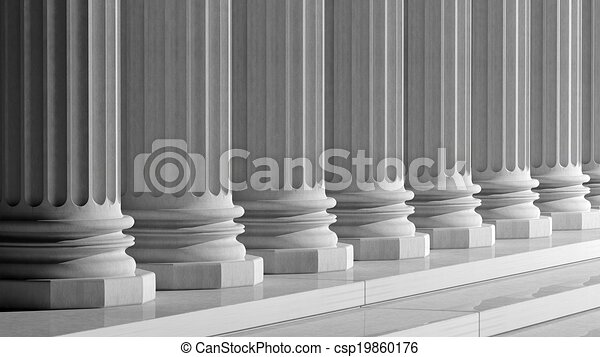 White ancient marble pillars in a row - csp19860176