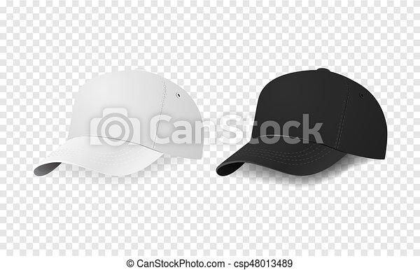 white and black baseball cap icon set design template closeup in