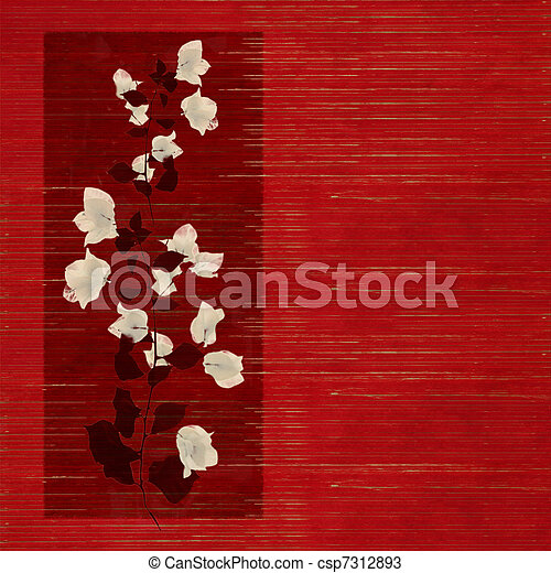 White and Black Flower print on Wooden Slatted Background - csp7312893