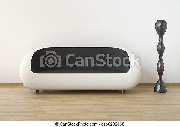 White and black modern interior design - csp6202468