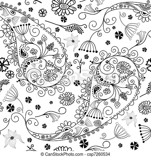 White and black seamless floral pattern - csp7260534