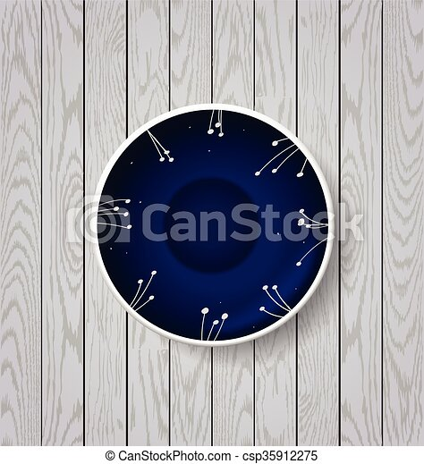 white and blue plate on wooden  - csp35912275