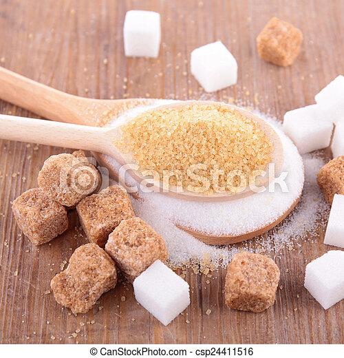 white and cane sugar - csp24411516