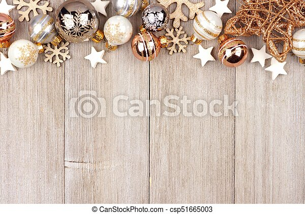 Christmas Top Border.White And Gold Christmas Ornament Top Border On Wood
