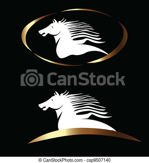 White and gold horse logo vector - csp9507140