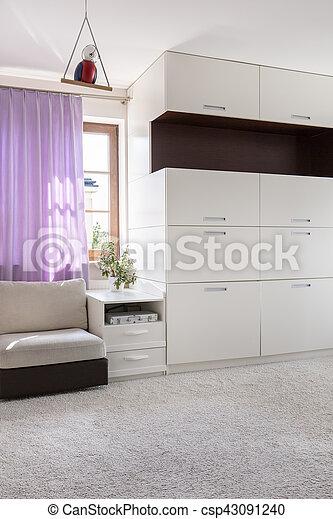 White and gray design interior - csp43091240