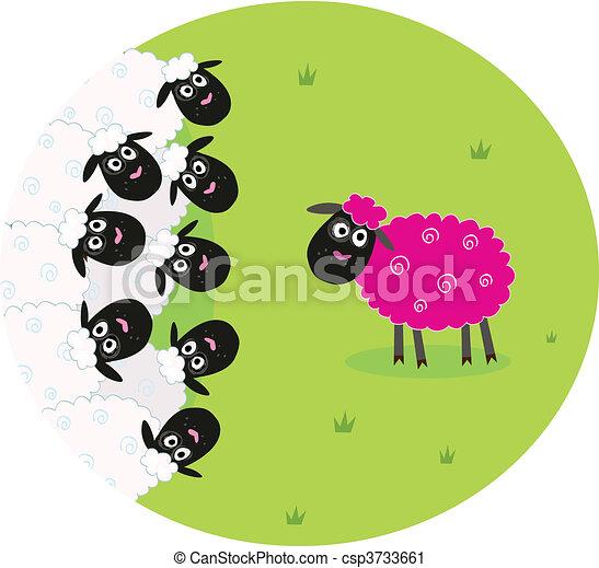 White and pink sheep - csp3733661