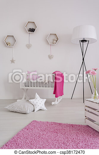 White and pure decor of a baby girl's room - csp38172470