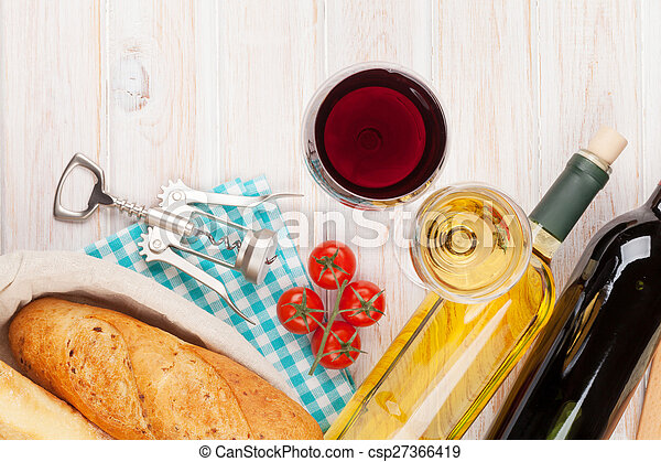White and red wine, cheese and bread - csp27366419