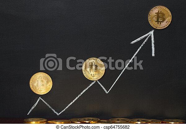 White arrow Bitcoin concept - csp64755682