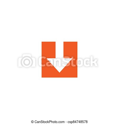 white arrow down in red square. flat icon. download sign. - csp84748578