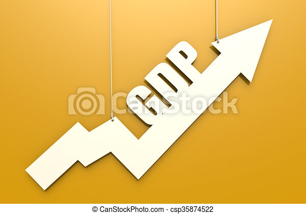 White arrow with GDP word hang on yellow background - csp35874522