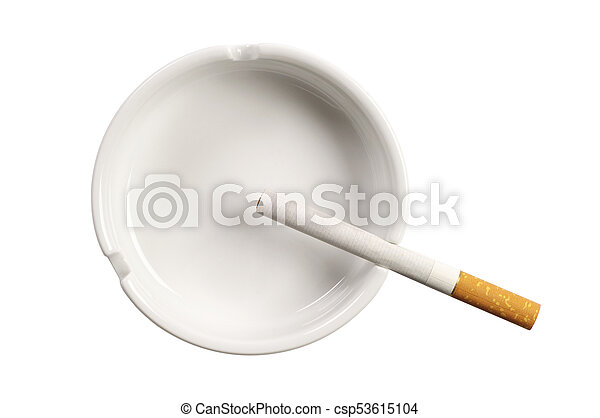 White ashtray and cigarette - csp53615104