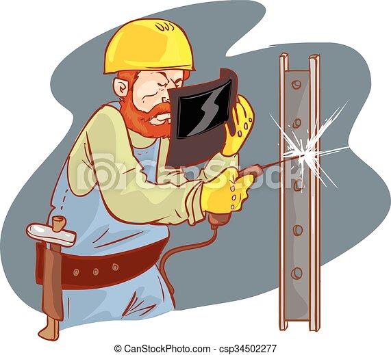 white background vector illustration of a yellow helmets welder - csp34502277