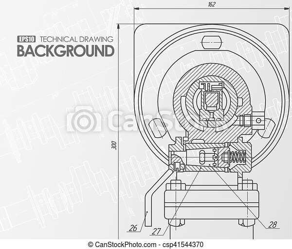 White background with technical drawings. Template white background ...