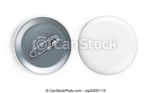 white badge 3d Illustrations on a white background - csp34291115
