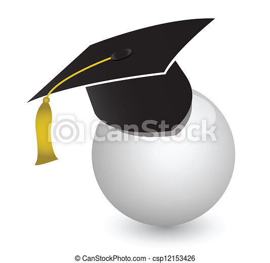white ball with graduation cap - csp12153426