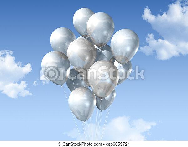 white balloons on a blue sky - csp6053724