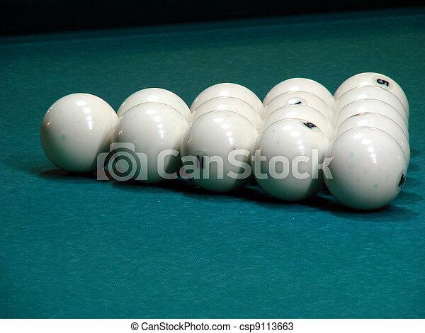 White balls on green textile pool table - csp9113663
