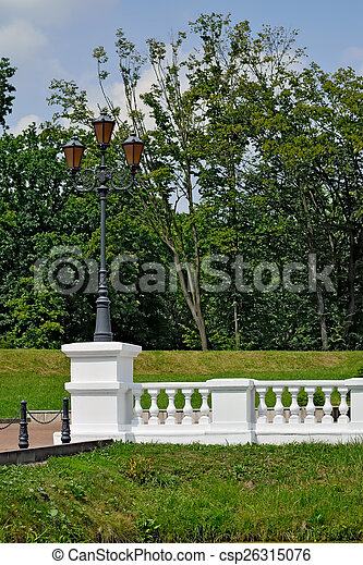 White balustrade in the old Park - csp26315076