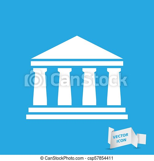 white bank icon on a blue background - csp57854411