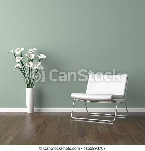 white barcelona chair on green - csp5998707