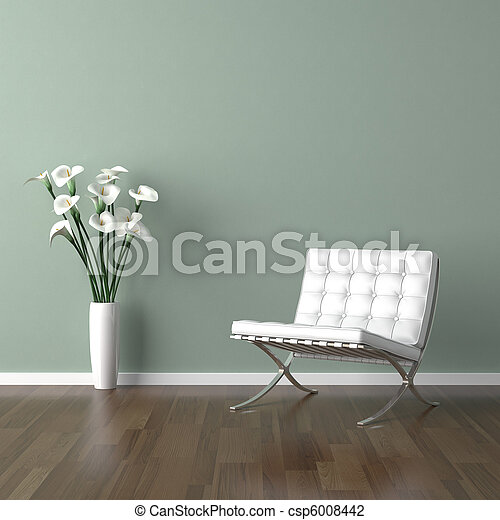 white barcelona chair on green - csp6008442