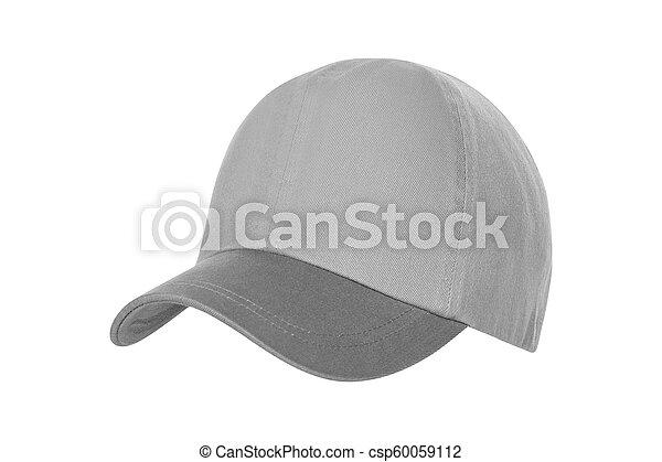 White Baseball Hat Isolated on White Background - csp60059112
