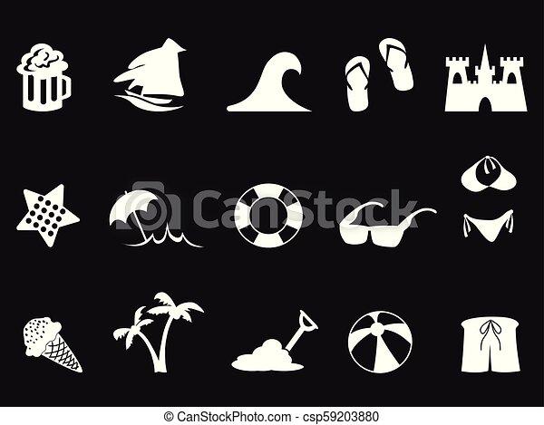 white beach icon set on black background - csp59203880