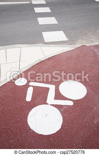 White Bike Lane Symbol In Urban Setting